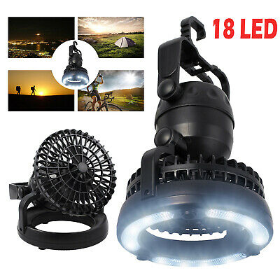 2in1 18LED Tent Camping Light Night Lamp +Fan Weather Resistant Hand Held Hook