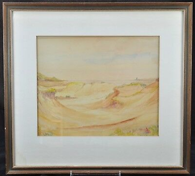 Original Edwin H. Wright Marine Sand Dunes and Bay Watercolor Signed