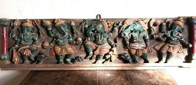 Wooden Ganesha Wall Temple Panel Hindu God Dancing Ganesh Murti Sculpture Statue