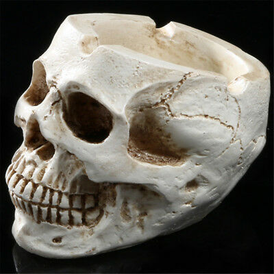 1 Piece Retro Resin Human Head Skull Ornament Container Halloween Party Decor