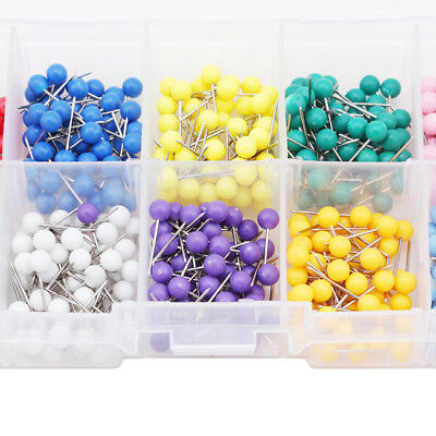 500Pcs 10 Grid 10 Colors Hemline Plastic Coloured Head Long Sewing/Craft Pins LG