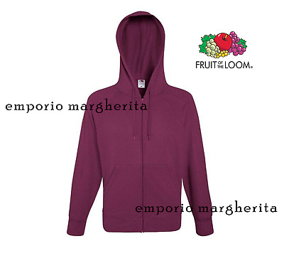 Felpa  Leggera  Bordeaux Con Cappuccio E Zip Lunga Fruit Of The Loom