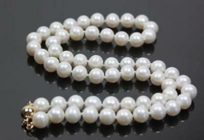 Stunning!14K Gold Clasp AAA+ 8-9mm White Akoya Cultured Round Pearl Necklace 18""