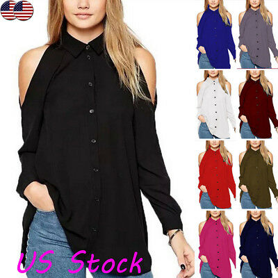 Women's Button Neck Cold Shoulder Cut Out Wrap Tops Casual Loose Blouse Shirt US