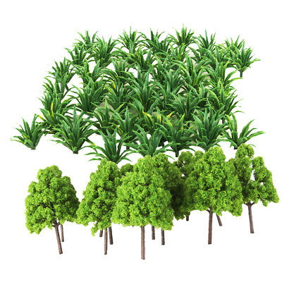 50x Sword Leaf Grass+20x Cypress Tree Models HO Layout Roadway Scenery Accs