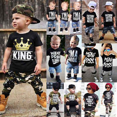 AU Toddler Kids Baby Boy Camo Denim Outfit Tops T-shirt Pants Casual Clothes Set