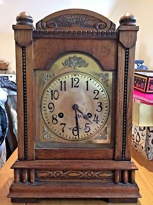 Superbly Crafted Antique Mantel Clock set in Dark Wooden Casing - Chime Working