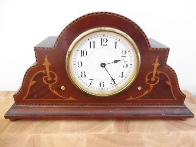 Found Antique Solid Wooden Edwardian Swiss  Mantle Clock With Inlay Detailing
