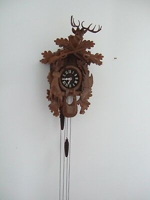 Vintage Large Carved Black Forest Cuckoo Clock Hunter WORKING SUPERB
