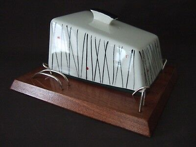 Vintage 1950's Wyncraft Pottery Cheese / Butter Dish Teak, Glass Liner
