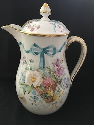 "Antique Copeland Wigmores Danielle London Porcelain Coffee Pot 10 1/2"" Tall"