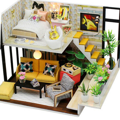 DIY Wooden Dollhouse Fits For Barbie Doll House With Furniture And LED Light