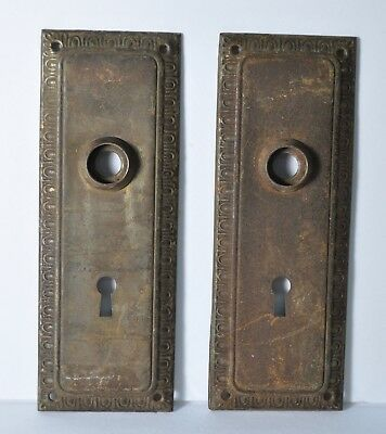 Pair Brass Antique Backplates Vintage Hardware Doorplates