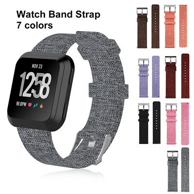 Canvas Nylon Woven Sport Loop Smart Bracelet Watch Band Strap For Fitbit Versa