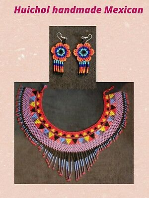Huichol Necklace earrings set Mexican 100% Hand made Artesanal jewerly