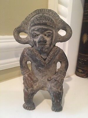 Pre-Columbian Ancient Artifact Clay Statue Sculpture Aztec Mayan Antique