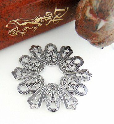 ANTIQUE SILVER Large Art Deco Ornate Embossed Plaque Stamping ~ Finding (C-1303)