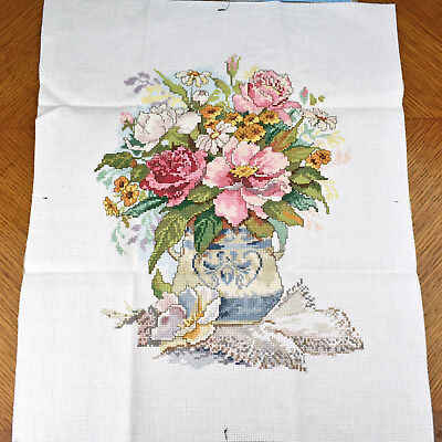 Finished Completed Cross Stitch 11x14 Floral Vase Flowers 50626