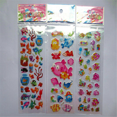 5pcs/Lot Bubble Stickers 3D Cartoon KIds Classic Toys Sticker School Reward SU