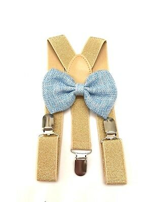 Gold Suspender and Blue Bow Tie Set for Baby Toddler Kids Boys Girls Child USA