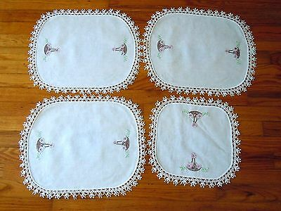 Vintage Hand Crocheted Needlework Doilies Table Scarves White,Lot of 4 ~INV#886