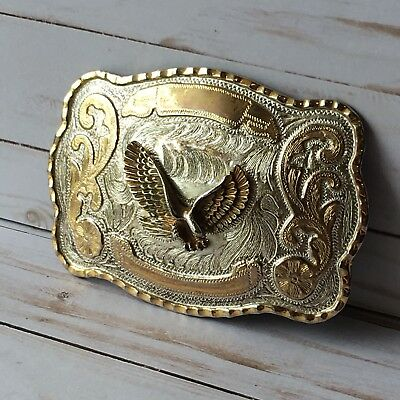 Eagle Soaring Belt Buckle Heavy Two Tone Gold Silver Color Vintage / Antique