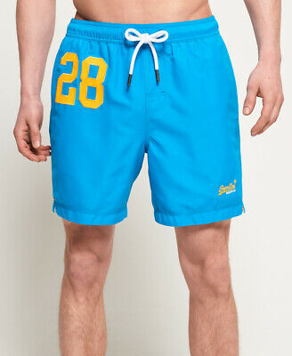 New Mens Superdry Waterpolo Swim Shorts Ocean Blue