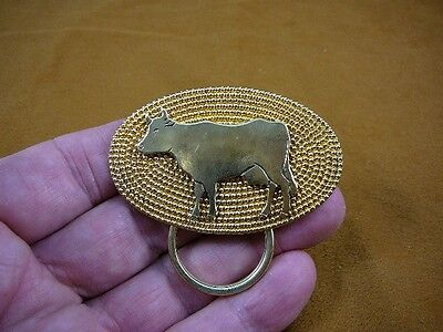 E-844) dairy Cow on oval dot textured brass Eyeglass pin pendant ID badge holder