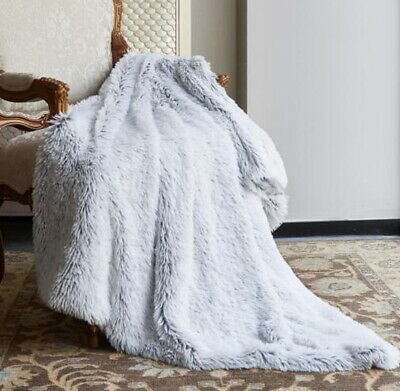 ULTRA SILVER FAUX FUR MINK THROW : 50x60 OMBRE MICRO SUEDE GRAY GLAMOUR BLANKET