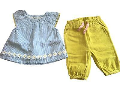 Mini Boden baby girls play set applique daisy top  and soft trousers 0 - 3 years