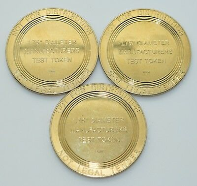 """Set of 3 Manufacturers Test Tokens By Roger Williams Mint 44mm - 1 3/4"""""""