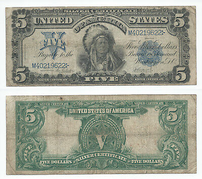 ☆AMAZING ☆ 《1899 SILVER CERTIFICATE》 INDIAN CHIEF  $5 Rep.*Banknote!