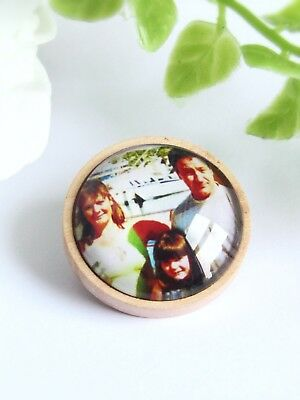 Personalised Photo Badge Memory Brooch Gift For Groom Buttonhole Picture Badge