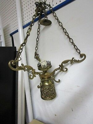 Vintage Hollywood Regency Style Brass Hanging Light Chandelier Estate Find