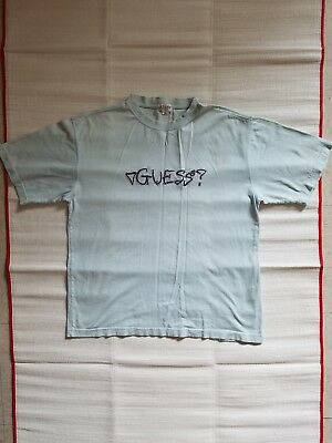 296d6a7dc9cb Vintage 90s Guess USA Spell Out Logo T-Shirt Pastel Green/Blue Mens Size