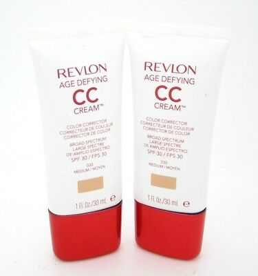 Revlon CC Cream Medium Age Defying Lot of 2 #030 SPF 30 Color Corrector