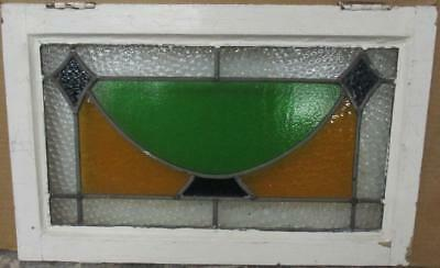 "OLD ENGLISH LEADED STAINED GLASS WINDOW Pretty Geometric Design 23"" x 14.5"""
