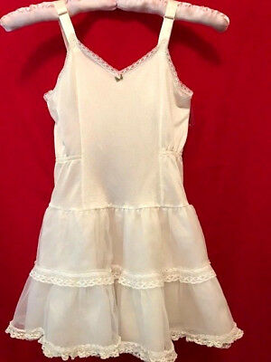Her Majesty Vintage Girls Size 6 Ivory Ruffles and Lace Slip Petticoat