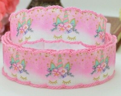 STUNNING - GROSGRAIN RIBBON - BEAUTIFUL CROCHET EDGED - UNICORN PINK 22mm - 7/8""