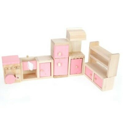 Pink Children Wooden Doll House Kitchen Furniture Kids Room V9D8