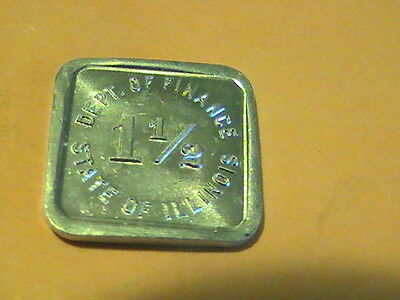 TAX 1930s STATE OF ILLINOIS Dept of Finance 1 1/2 Retailers Occupation Tax Token
