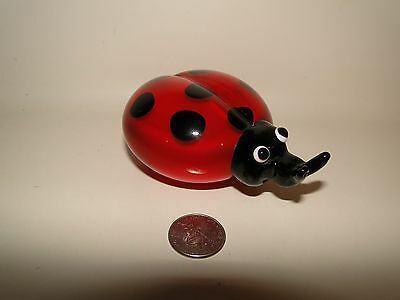 """Glass Ladybug Figurine Paperweight, Red & Black Spots, Approx 4"""" Long"""