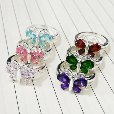 Fashion Butterfly Women Cocktail Rings for Women 925 Silver Gemstone Size 6-10