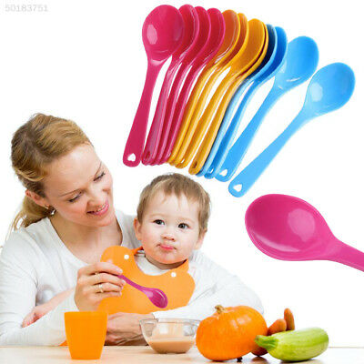 AE1A 6A28 12Pcs Feeding Spoon Safe Plastic Baby Toddler Training Spoons Food Set