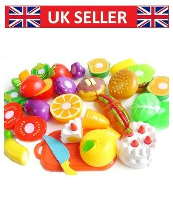 Kids Pretend Role Play Kitchen Fruit cake Food Toy Child Plastic Cutting Set