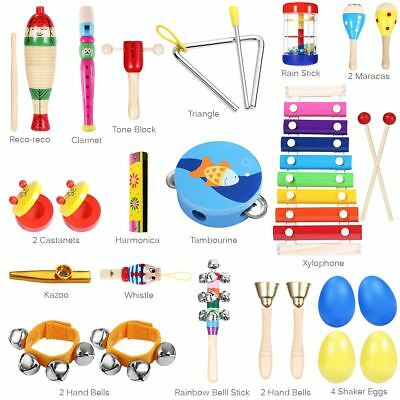 23X Kids Musical Instruments & Wooden Percussion Toys Rhythm Band Value Set Gift