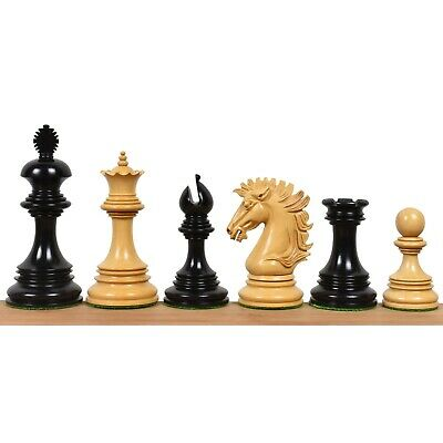 Alexandria Luxury Staunton Chess Pieces Only Set - Triple Weighted - Ebony Wood