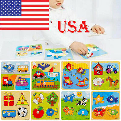 Toddler Intelligence Development Animal Colorful Brick Puzzle Toy For Baby USA