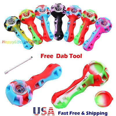 """Random 4"""" SILICONE TOBACCO PIPE WITH GLASS BOWL TOOL & STASH CONTAINER"""