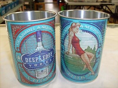 2 lot Deep Eddy Blue Pin up Sexy Lady Vodka classic Tin Can Cups Pencil Holder
